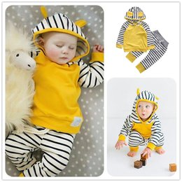 Wholesale Girls Leopard Hoody - Baby Boy Girl Clothes Striped Hoody Pants 2pcs Sets Yellow White Rabbit Hat Cotton Top Trousers Suits Long Sleeve Infantil Clothing Outfits