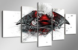 Wholesale Pictures Movie Posters - 5 Panel HD Printed Batman Vs Superman Movie Painting Canvas Print room decor print poster picture canvas abstract art