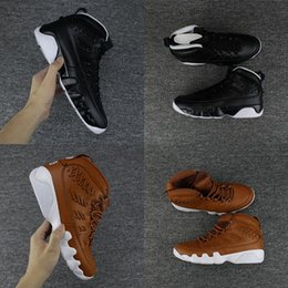 Wholesale Newest Arrival - 2018 Newest Air retro 9 Baseball Glove pack Man basketball shoes Black Brown New arrival Brand Men sport trainer Sneakers 8-13