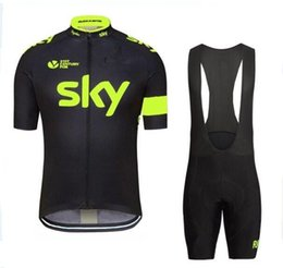 Wholesale Men Cycling Skinsuit - NEW Tour De France Sky Team Cycling Jerseys Quick Dry Bike Wear cycling jersey Short sleeve cycling tights + bib pants cycling skinsuit