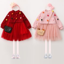 Wholesale Pink Ruffle Sweater - Kids Dresses Girls Pompons Long Sleeve Sweater Dress New Autumn Children Splicing Mesh Gauze Pleated Dress Children Clothing Red Pink C1364
