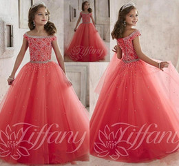 Wholesale Little Girls Formal Party Dresses - Little Girls Pageant Dresses wear New Off Shoulder Crystal Beads Coral Tulle Formal Party Dress for teen Kids Flowers Girls Gowns HY1189