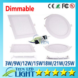 Wholesale Dimmable 9w Downlight - Dimmable Led Panel Light SMD 2835 3W 9W 12W 15W 18W 21W 25W 2200LM 110-240V Led Ceiling lights spotlight downlight lamp + driver