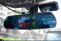 Dvr radar detector retrovisore online-Auto DVR Dash Cam All Winner Solution PZ918 Wifi 5 pollici HD Touch Screen Intelligente Dual Lens GPS Tracker Radar Detector Specchietto retrovisore