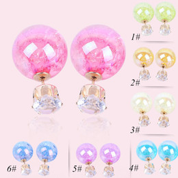 Wholesale Asian Coats - Fashion earrings jewelry, coated corrugated candy color fashion earrings, hot pearl earrings earrings wholesale free shipping