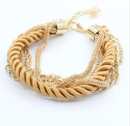 Wholesale Gold Bracelet Twisted Rope Chain - Europe multilayer woven bracelet chain Fashion leather cord twist bracelet Alloy materials Plating Multicolour