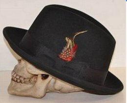 Wholesale Black Felt Hat Wool - New fashion Men Winter Black wool blend Feather Felt Hat Wide Brim Fedora Top cap Dance Cap Blower Jazz Panama Hat