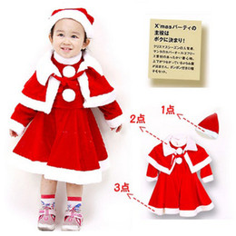 Wholesale Dress Girl Winter Summer - Girls Winter Dress Christmas Dress Red Dresses Sets Dress+Shawl+Hats 3 Pcs Children Princess Dress Long Sleeve Christmas Girls Costume