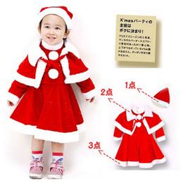 Wholesale Shawls Sleeves - Girls Winter Dress Christmas Dress Red Dresses Sets Dress+Shawl+Hats 3 Pcs Children Princess Dress Long Sleeve Christmas Girls Costume
