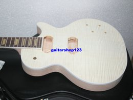 Wholesale Electric Guitars Kits - Custom Shop Mahogany Body one piece mahogany neck Unfinished Electric Guitar Kit With Flamed Maple Top with hardware
