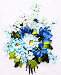 Wholesale China Cross Stitch Kits - New Arrival Blue Flowers Ribbon Cross Stitch 3D Handmade Home Decor Needlework Craft DIY Unfinished Floral Stitching Kits Set