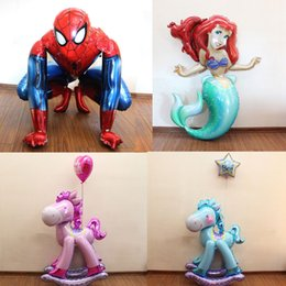 Wholesale Dresses Balloon - Hot new stereoscopic mermaid Trojan birthday Spiderman balloons foil balloons baby princess dress banquet arranged globos