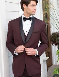 Wholesale Modern Suits For Men - Wholesale- modern slim fit suits men burgundy tuxedo jacket three piece suits for wedding formal wear 2016