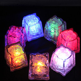 Wholesale liquid leading - Led party lights Lite cubes Multicolor Light up LED Blinking Ice Cubes Liquid active sensor Night Lights for Party Xmas wedding decor