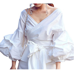 Wholesale Office Wear Tops Blouses - 4XL 3XL Women Ruffle Blouse Shirts with Bow Tie Plus Size Blue Black Puff Sleeve Wrap Tops for Party Elegant office Ladies Work Wear Clothes