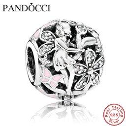 Wholesale Pandora Lights Pink - Fits Pandora Jewelry Bracelets 100% 925 Sterling Silver Beads Dazzling Daisy Fairy, Light Pink Enamel & Clear CZ Original Charms