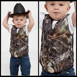 Wholesale Camo Vests - 2018 Custom Camo Boy's Formal Wear Camouflage Real Tree Satin Vest Cheap Sale Only Vest For Wedding Kids Boy Formal Wear