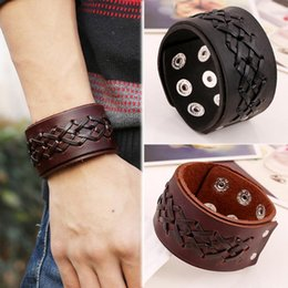 Wholesale Fashion Strap Leather Bracelet - 3Pcs Lot WHolesale Rock Punk Wide Leather Mens Wrist band Strap Bracelet Handmade Brown Black Color Fashion Jewelry