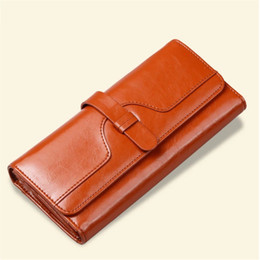 Wholesale Real Gold Credit Card - 100% Oil Wax Cowhide Clutch Women Wallets Brand Design High Quality Real Leather Women's Purse Money Credit Cards Wallet Phone