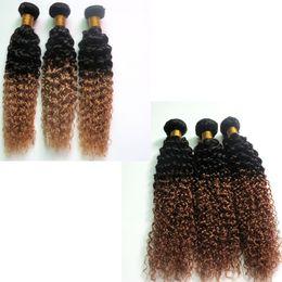 Wholesale hair perm machine - Virgin Peruvian Hair Bundles Ombre Human Hair Weaves Wefts Two Tone Brazilian Indian Malaysian Mongolian Bulk Remy Hair Extensions