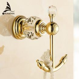 Wholesale Crystal Towel Rack - Free shipping luxury crystal & brass gold robe hook bathroom hangings gold towel rack clothes hook HK-25k