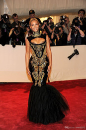 Wholesale Beyonce Sexy Gowns - New Fashion 2016 Hot Custom made Sexy Black And Gold Beyonce Mermaid Embroidery Beaded Celebrity Dresses Evening Gowns Prom Dress