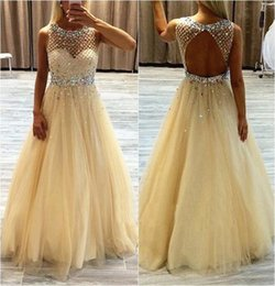 Wholesale Cheap Ladies Formal Dresses - Fashion Champagne 2016 Prom Dresses Long Crystals Beaded Draped Tulle Backless Ladies Formal Dresses Evening Wear Cheap