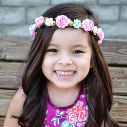 Wholesale Wholesale Floral Fabric - Childrens Accessories Kid Roses Flower Headband 2016 Head Bands Infants Baby Hair Accessories Fabric Flowers Headbands For Girls Ciao C26544