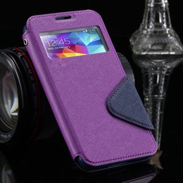 Wholesale Cove Case S4 - free shippinS4 S5 Luxury Brand View Window Flip PU Leather Case For Samsung Galaxy S5 I9600 S4 I9500 Card Slot Hit Color Fashion Phone Cove