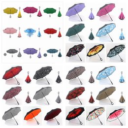 Wholesale double compact - Inverted Umbrellas Reverse Folding Double Layer Windproof Umbrella Inside Out Protection for Car Outdoor Use 28 Colors