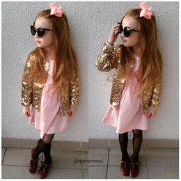 Wholesale Thick Girls Clothing - 2017 Baby Boys Girls Jackets Autumn Baseball Clothes Kids Coats Warm Thick Children Outerwear Sequins Children Cute Cool Style
