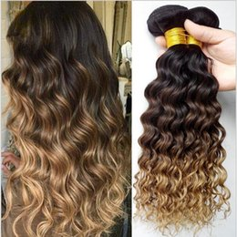 Wholesale 22 Wavy Blonde Hair Extensions - Ombre Hair Extensions Three Tone 1B 4 27 Brown Blonde Ombre Deep Wave Hair 3Pieces Lot Honey Blonde Ombre Wavy Human Hair Bundles