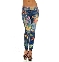 Wholesale Purple Ladies Jeans - Butterfly and Sexy Lady Print Leggings Jeans Cheap Ripped Denim Spandex Graffiti Fitness Legging for Women Pants Sexy Leggings Free Shipping