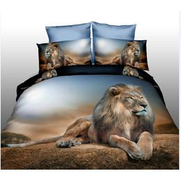 Lion King Printing famille Literie Set Home Textile cadeau, Animal de ponçage couette housse de couette drap plat taie d'oreiller, convient pour lit de 1.8m ? partir de fabricateur
