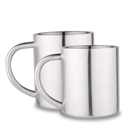 Wholesale wholesale children wears - With Handle Coffee Mug Double Layers Stainless Steel Children Tea Cup Simple Wear Resistant Round Cups Popular 10 29fn B