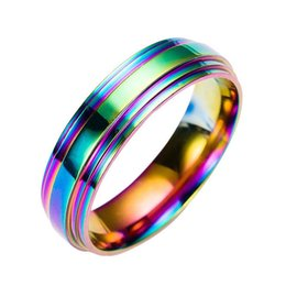 rainbow rings for women Promo Codes - Stainless Steel Rainbow Ring Band Rings Wedding Ring for Women Men Fashion Jewelry Gift Drop Shipping