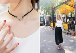 Wholesale Gold Chain Short Choker Necklace - Fashion V Shape Choker Necklace Torques Summer Punk Style Black Short Velvet Collar Necklaces For Women collares collier femme PSXL014