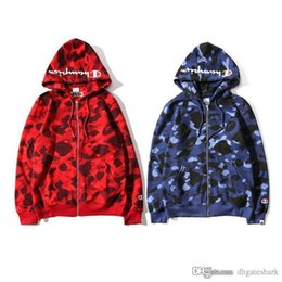 Wholesale Cardigan Sweater Fashion - Hot Men's Camo Hooded Sweater Couples Camouflage Spotted Hooded Jackets Hit Color Sweatshirt Jacket Street Fashion Jacket Tops