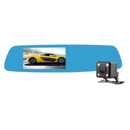 Wholesale Video Reviews - 5inch IPS Touch Car dual Camera Novatek 96655 Car Dvr Blue Review Rear Mirror Digital Video Recorder Auto Navigator