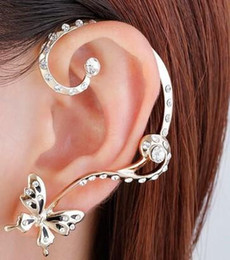 Wholesale Cuffs Pink - Charm earrings crystal rhinestone butterfly ear bone clips ear cuffs and ear pin set earrings for girls and ladies