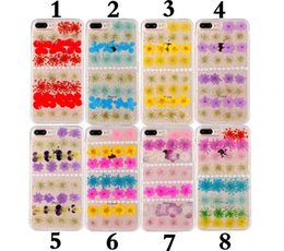 Wholesale Iphone Pearl Pink - Real Flower Pattern Bead pearl Transparent Soft TPU phone Case for iPhone 6 6s plus Phone cases for 7 plus cover case