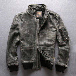 Wholesale Avirex Jackets - Vintage grey Avirex fly men cow leather jackets 100% genuine leather stand collar flight bomber jackets