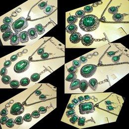 Wholesale Malachite Antique - 6 Styles Malachite Stone Jewelry Set major Vintage Antique Silver Fashion Necklace Sets Pendant Earring Bracelet for Women