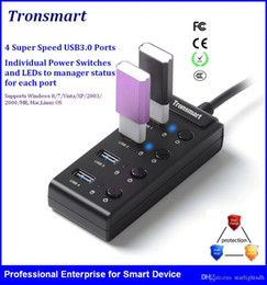 Wholesale Tronsmart TS UH4P1 super speed USB Ports individual power switch for Laptop Ultrabook with Switchs for Notebook Desktop