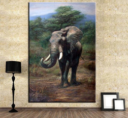 Wholesale Huge Painted Nudes - DP ARTISAN NO FRAME HUGE elephant ANIMAL ARTS Printed Oil Painting On Canvas wall Painting for Home Decor Wall picture