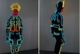 Wholesale glowing clothes - EL costume EL Cold Light Clothing Glowing Dance Clothing EL Indian Luminous Costumes Scintillation Costume Men LED Clothes Cold