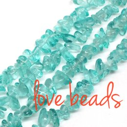 Wholesale Oval 5mm - Lake Blue Glass Irregular Gravel Beads 5mm-8mm Freeform Loose Beads 33'' Strand For Woman wholesale DIY (F00286) wholesale