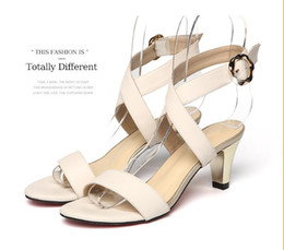 Wholesale Korean Sexy High Heels - New Korean hollow women shoes genuine leather sandals fine with high heels 2016 best-selling sweet sexy open toe summer shoes women sandals