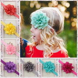 Wholesale Lovely Girl Wholesale - Baby Girls Headbands Big Flowers Newborn Infant Kids Lotus Hair Accessories Children Headwear Cute lovely Hair Ornaments Hairbands KHA43
