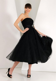Wholesale Cheap Net Lighting - cheap Little Black Prom Formal Dresses Strapless Bridesmaid Gown Soft Tulle Net Tea Length Cocktail Party Dresses Plus size Homecoming Dress